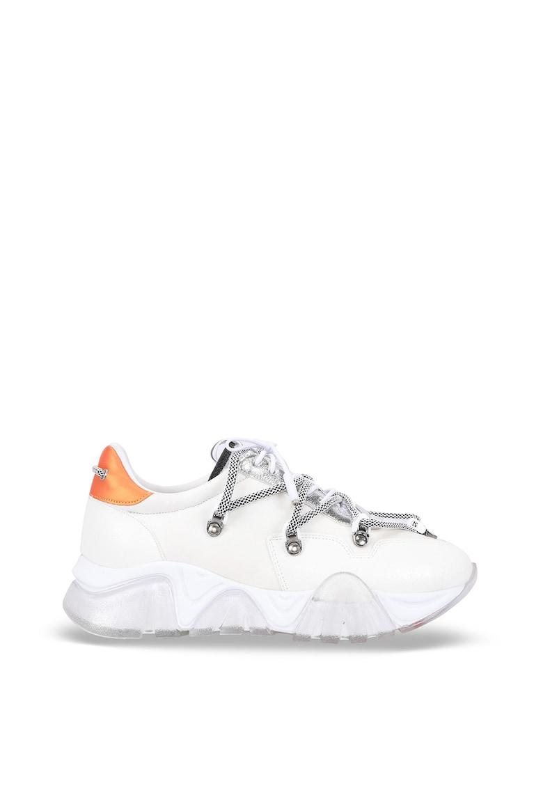 Pantofi sport cu talpa wedge si insertii din piele ecologica