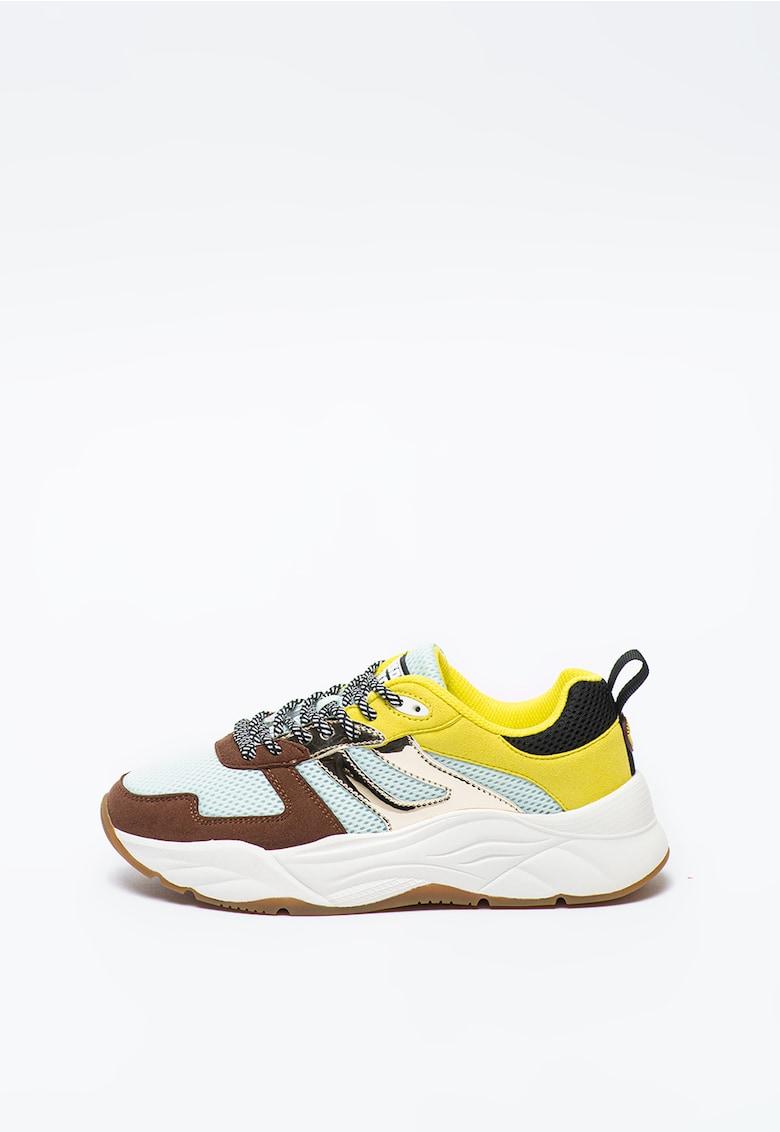 Pantofi sport de plasa cu talpa wedge si aspect colorblock Celest imagine