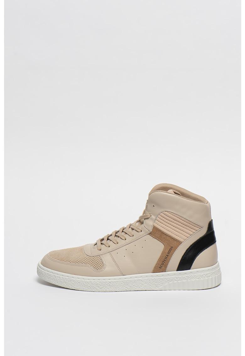 Pantofi sport inalti cu detalii de piele si piele intoarsa Brilliant