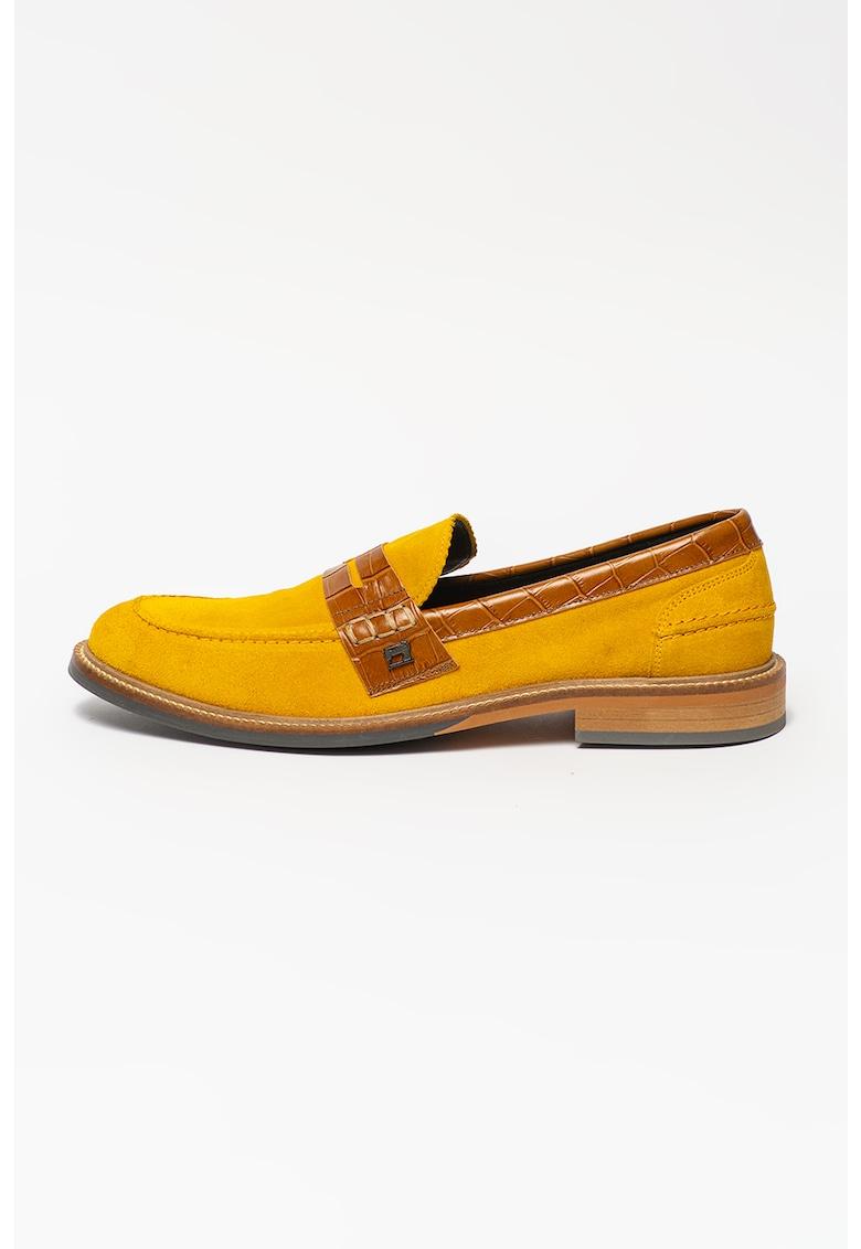 Pantofi de piele intorsa cu garnituri cu aspect de piele de crocodil Wylder