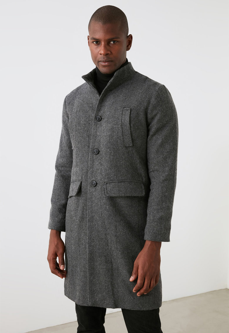 Palton cu model herringbone si buzunare multiple imagine