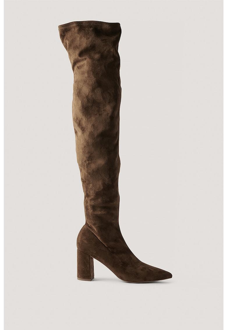 NA-KD Cizme pana peste genunchi din piele intoarsa ecologica