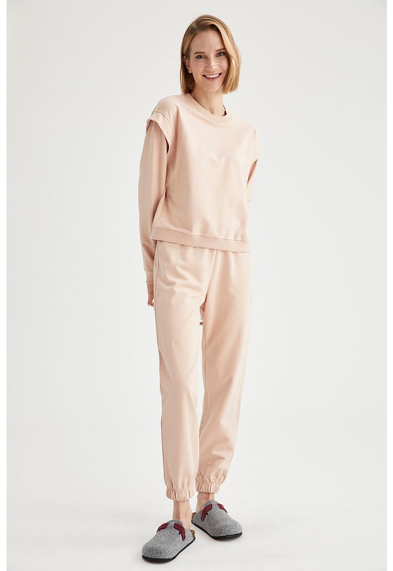 Bluza de pijama de bumbac cu umeri accentuati imagine