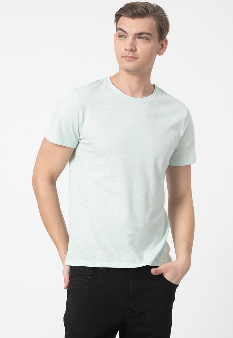 Tricou din amestec de in cu decolteu la baza gatului Bărbați imagine