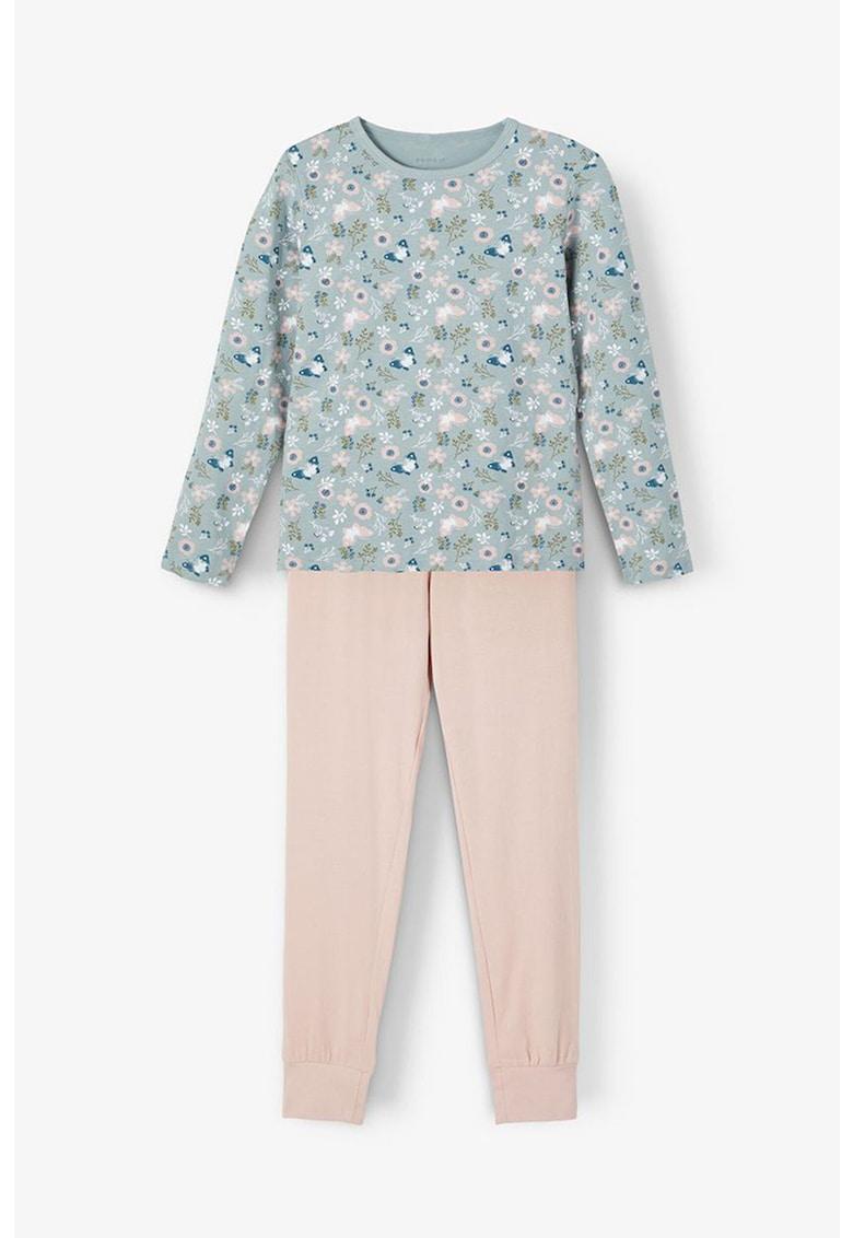 Pijama din amestec de bumbac organic cu maneci lungi