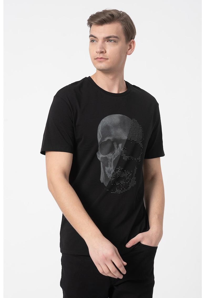 Tricou cu decolteu la baza gatului si strasuri Norm Bărbați imagine