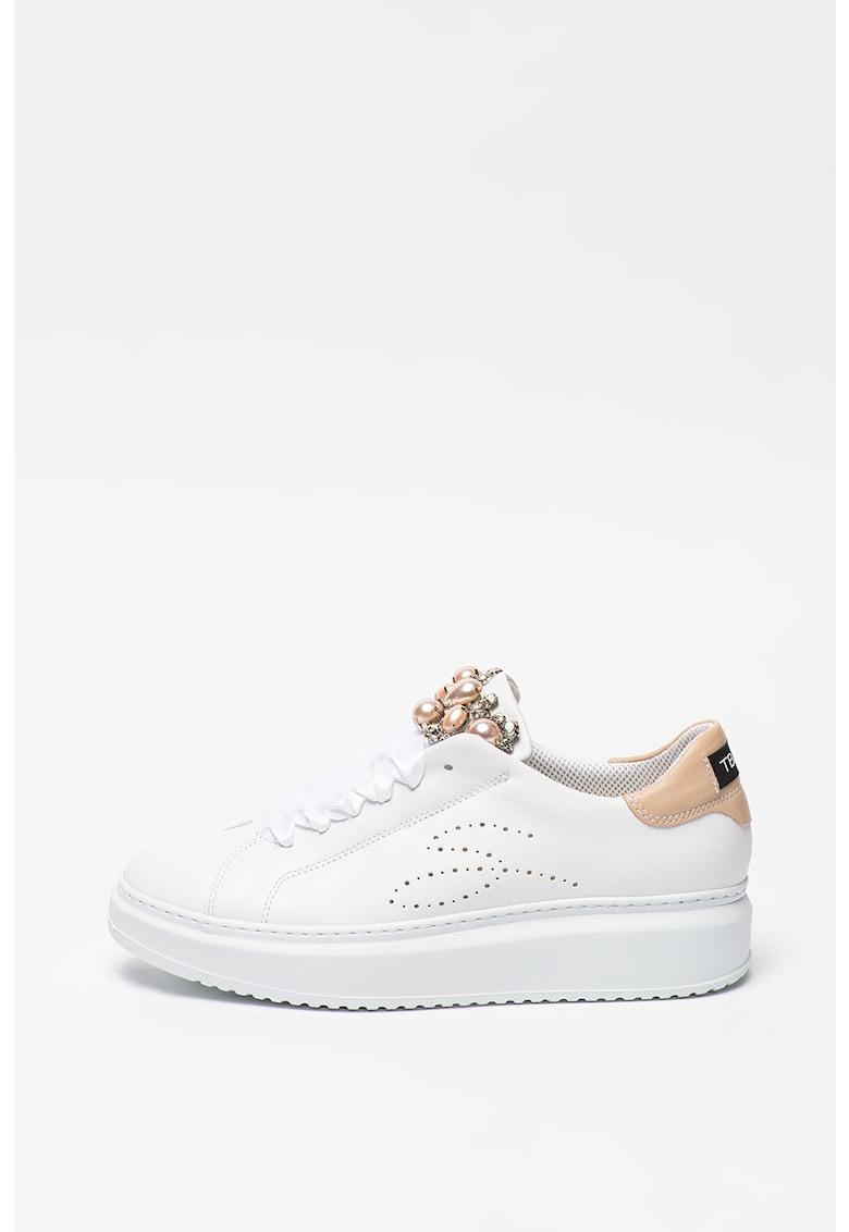 Pantofi sport de piele decorati cu margele si strasuri Agata imagine