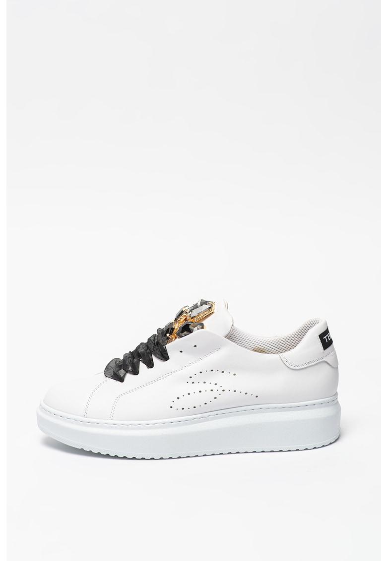 Pantofi sport de piele cu aplicatii supradimensionate de strasuri Agata imagine