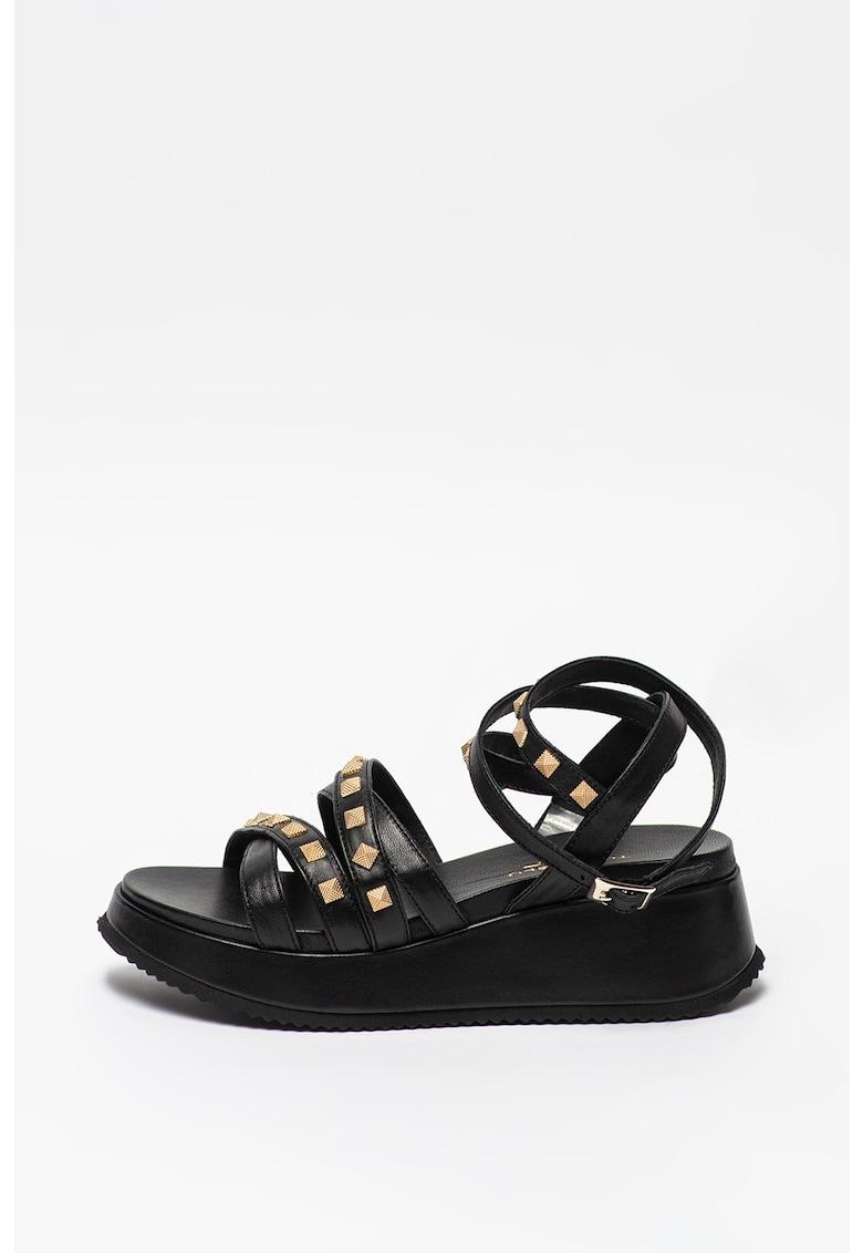 Sandale wedge de piele cu aplicatii de tinte Blenda fashiondays.ro