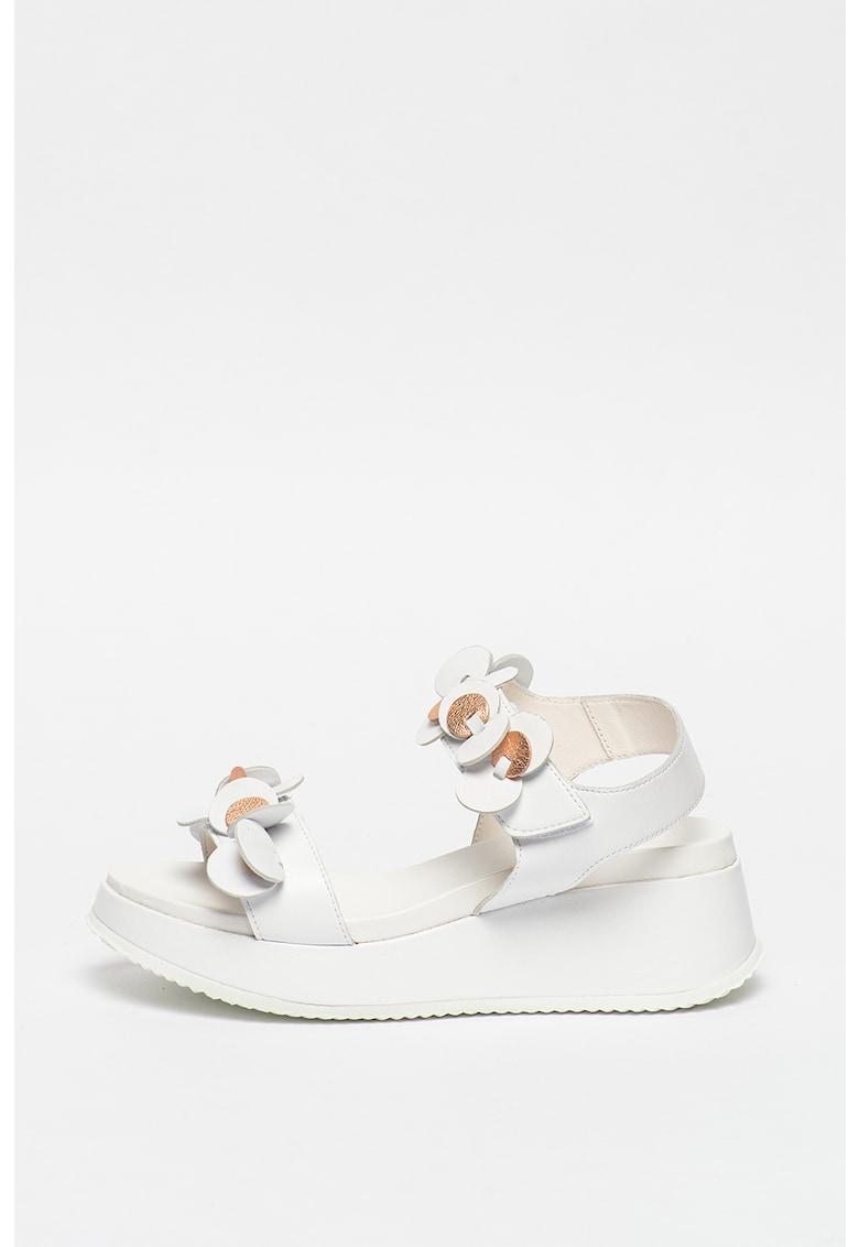 Sandale slingback din piele cu detalii contrastante poza fashiondays