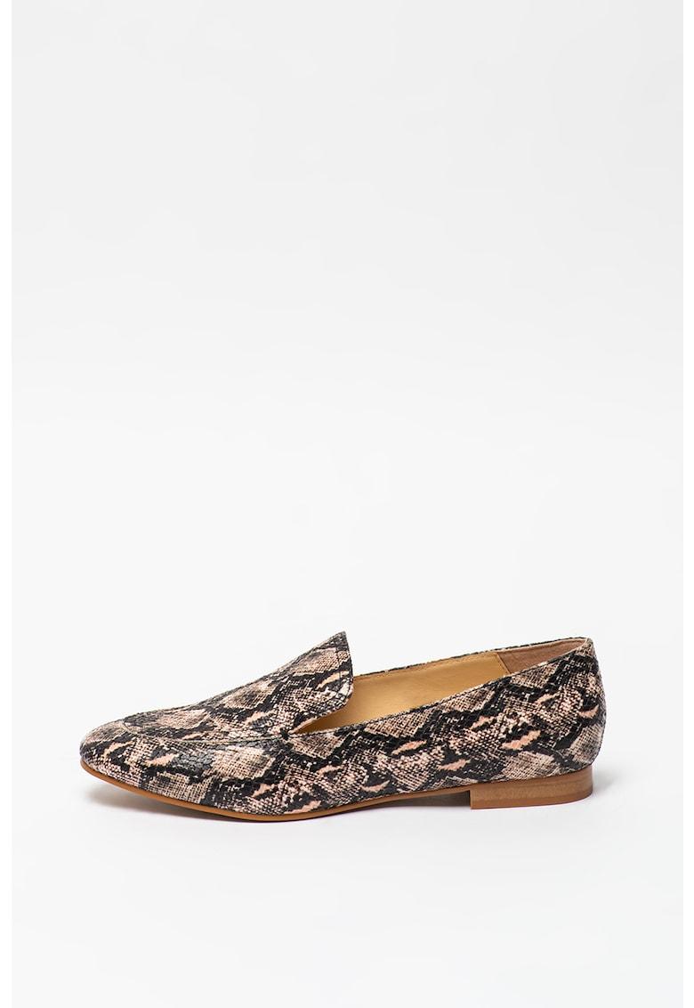 Pantofi loafer cu aspect de piele de sarpe Crystal