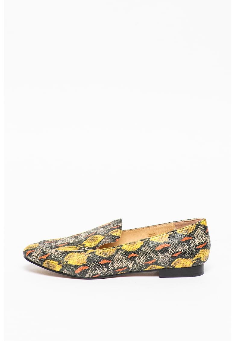 Pantofi loafer cu model si aspect de piele de sarpe