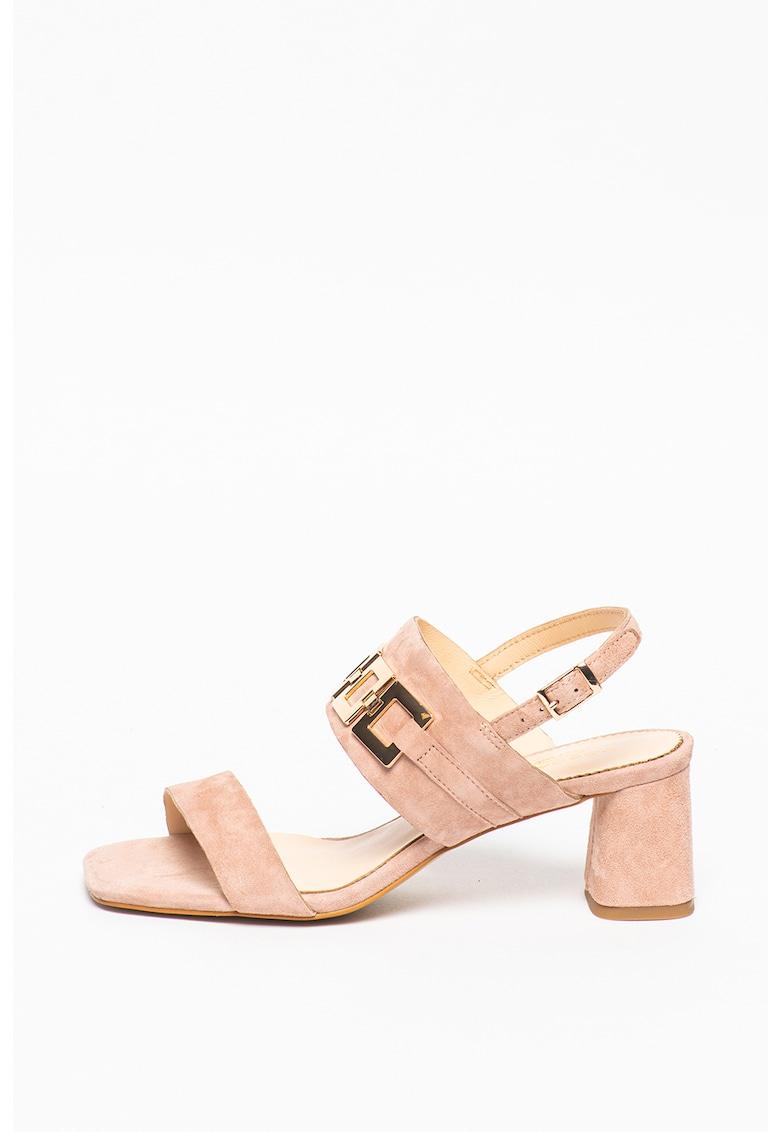Sandale din piele intoarsa cu decoratiuni metalice Larimar Tosca Blu fashiondays.ro