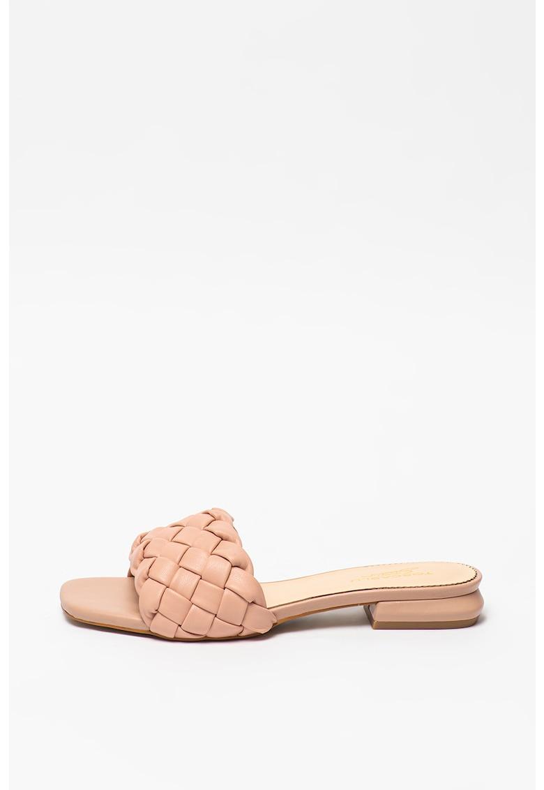 Tosca Blu Papuci de piele ecologica cu toc si aspect tesut Onice