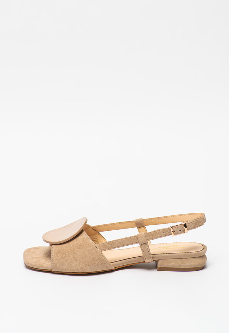 Sandale slingback de piele intoarsa cu aplicatie decorativa Onice