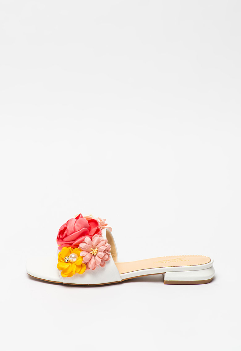 Papuci de piele cu aplicatii florale Onice imagine