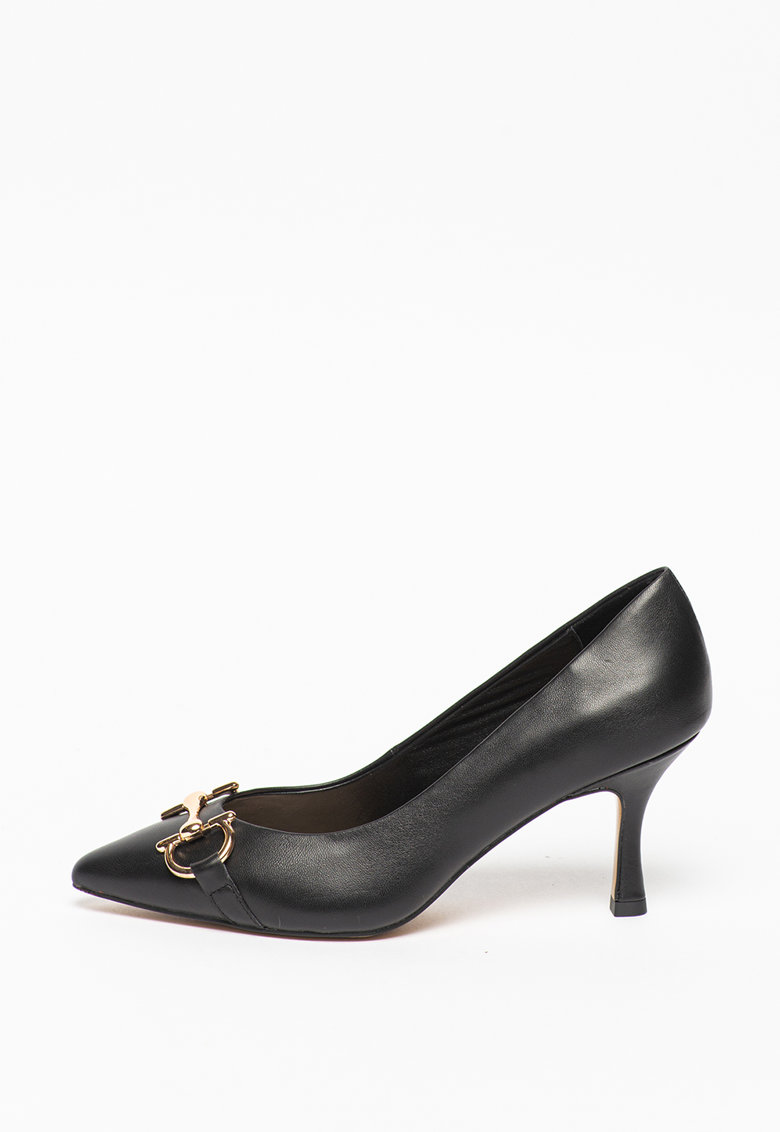 Tosca Blu Pantofi din piele cu varf ascutit si decoratiune metalica Giada