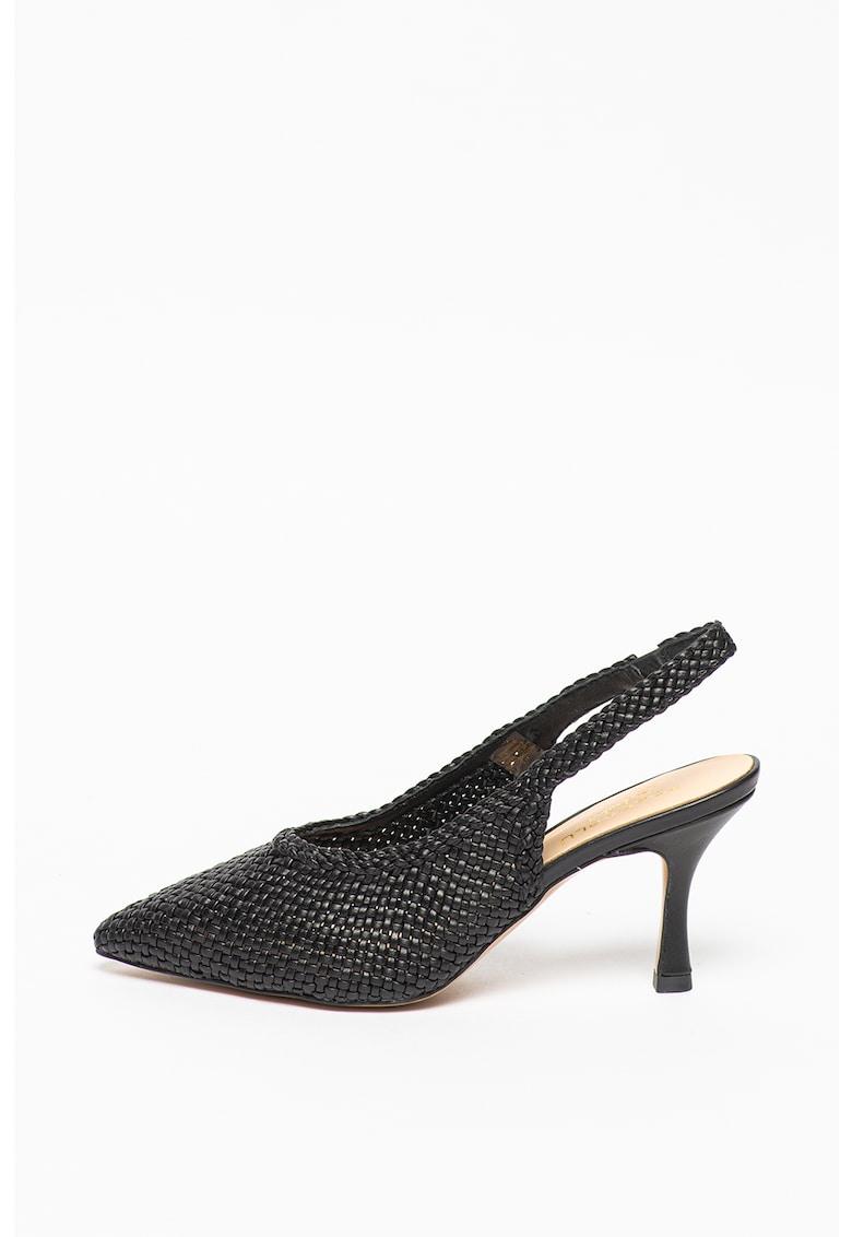 Pantofi slingback din piele cu aspect impletit Giada