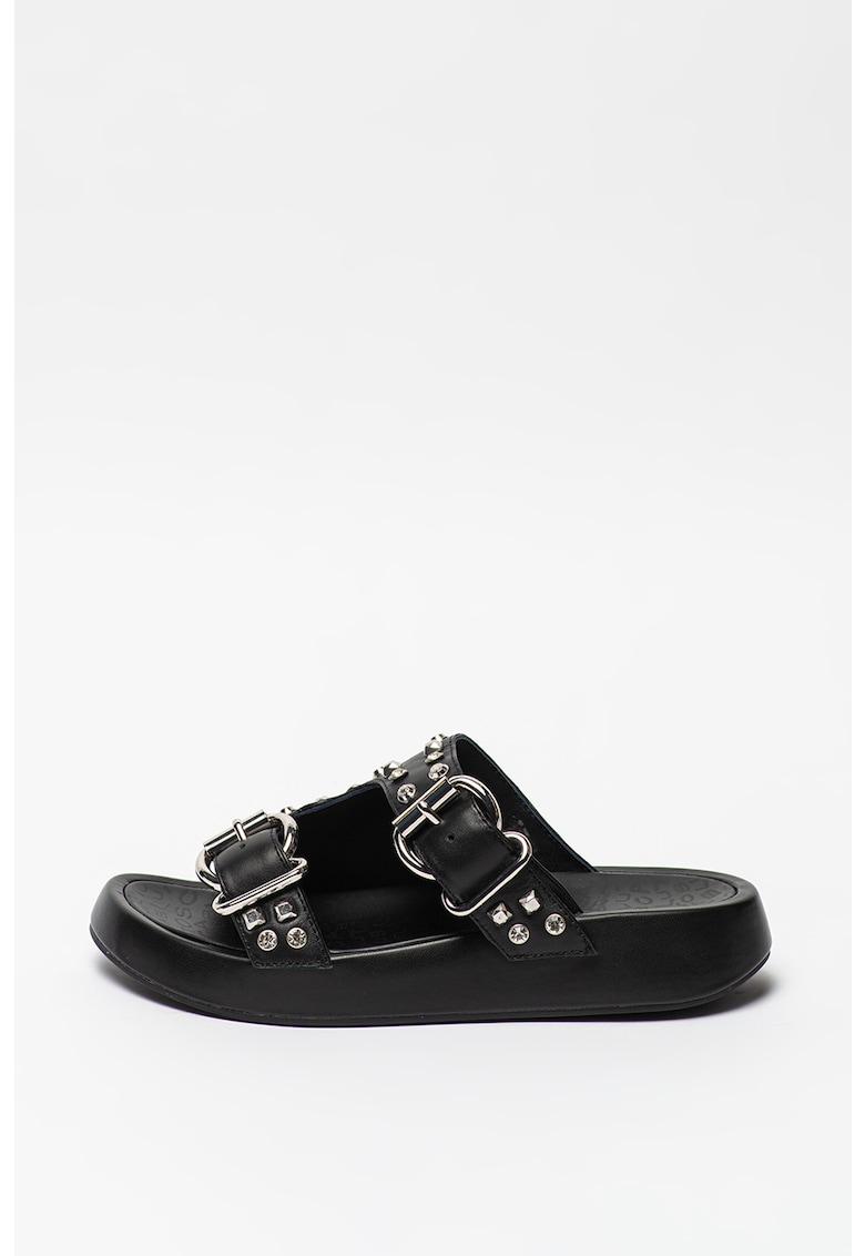 Papuci de piele cu strasuri si tinte Topaz imagine