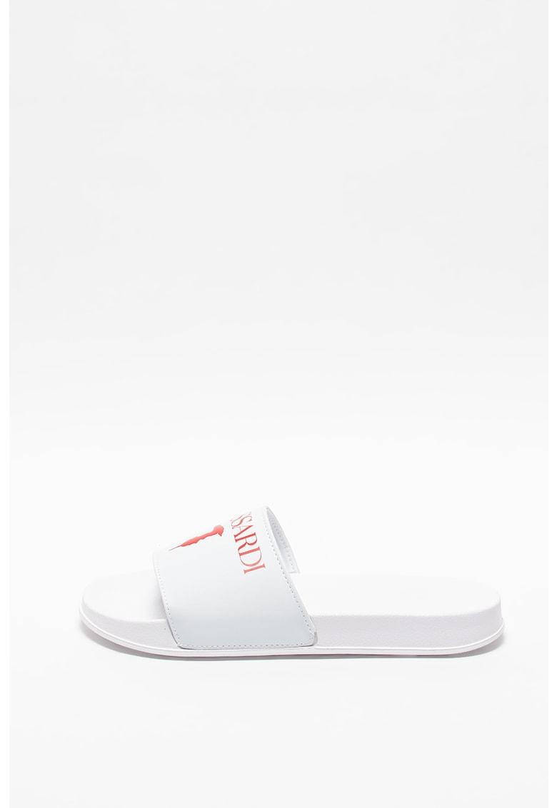 Papuci de piele ecologica cu logo