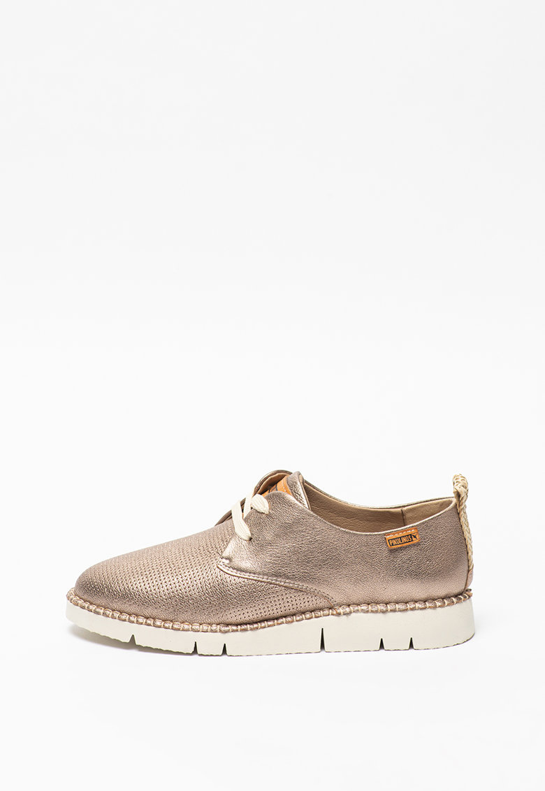 Pantofi derby de piele cu aspect texturat si metalizat Vera