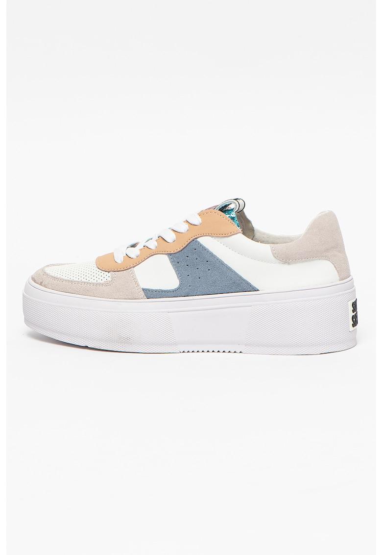 Pantofi sport din piele ecologica cu insertii din piele intoarsa
