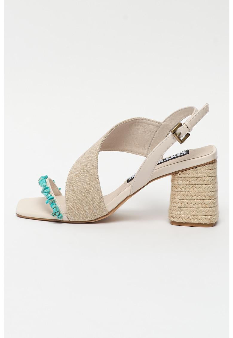 Sandale slingback cu toc bloc Woodit