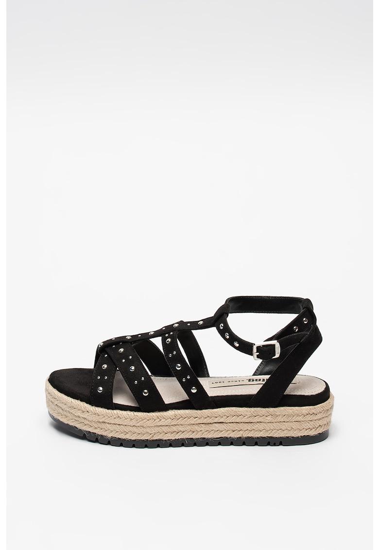 Sandale flatform de piele intoarsa sintetica cu nituri MTNG fashiondays.ro