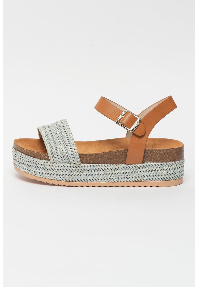 Sandale wedge cu aspect tesut Lana