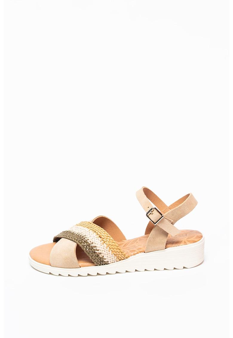 Sandale wedge cu garnituri de piele intoarsa Marina