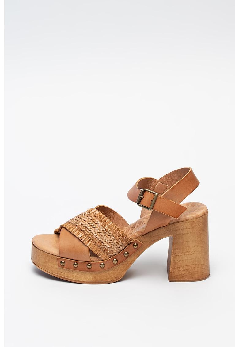MTNG Sandale de piele cu detalii impletite