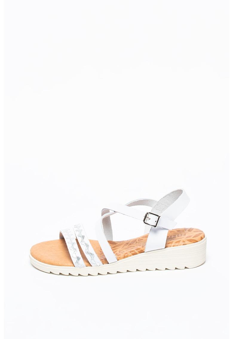 Sandale de piele cu aspect metalizat Saria