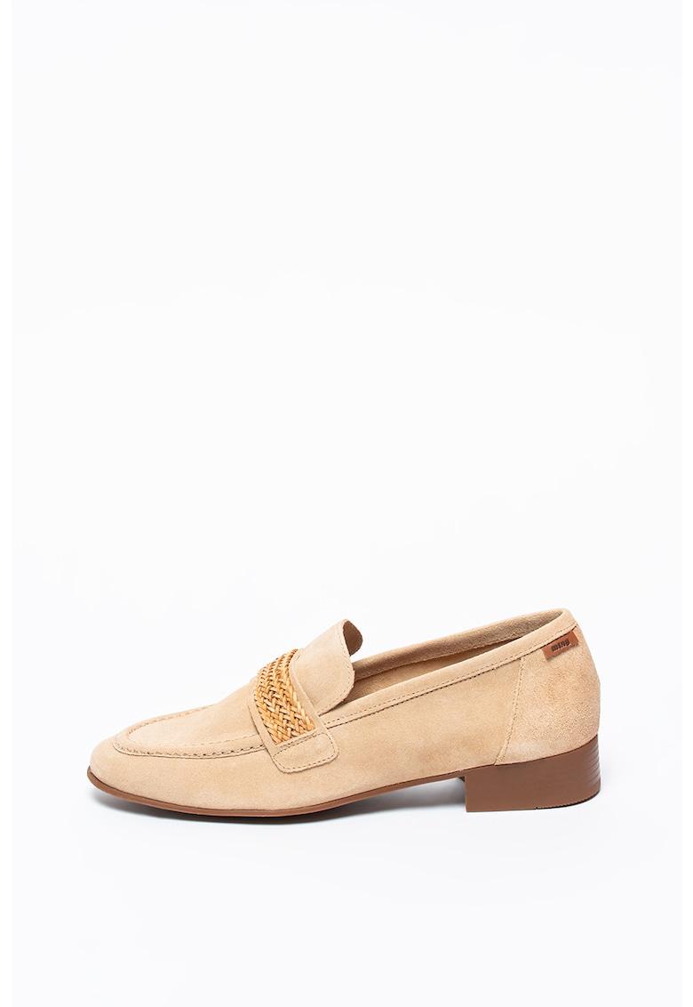MTNG Pantofi loafer de piele intoarsa cu toc masiv