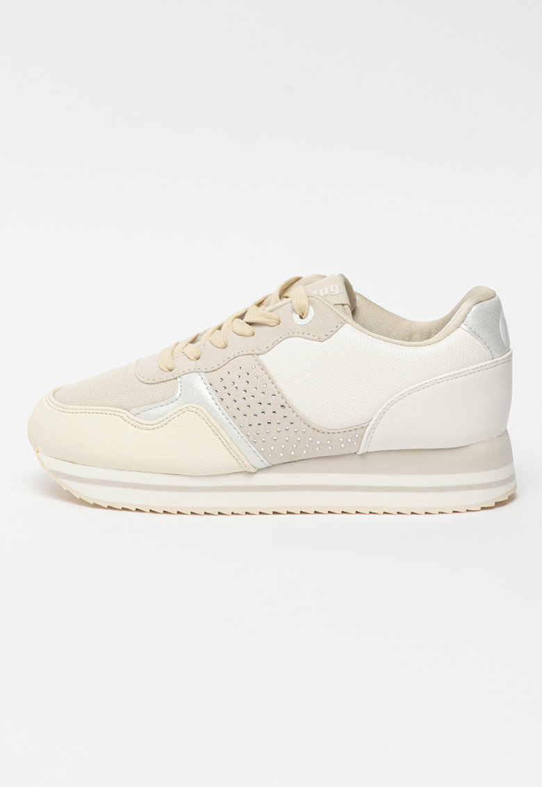Pantofi sport de piele ecologica si material textil cu strasuri Agatha