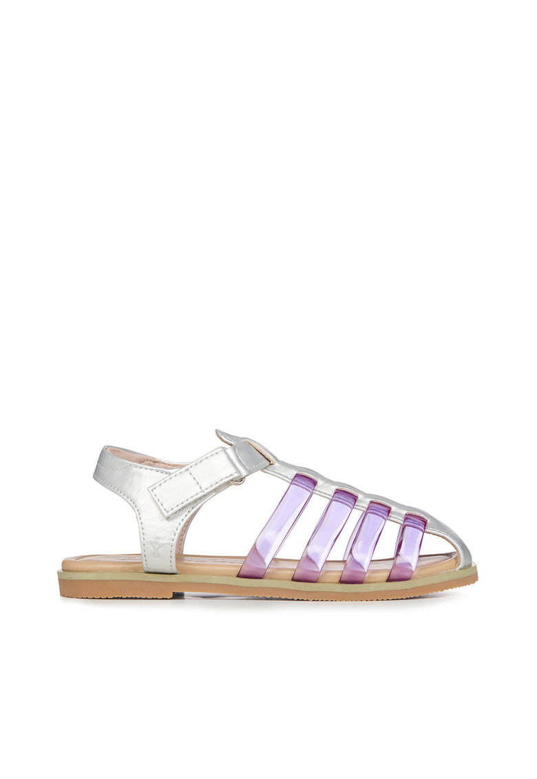 Sandale din piele ecologica cu inchidere velcro si aspect metalizat Brooklyn poza fashiondays