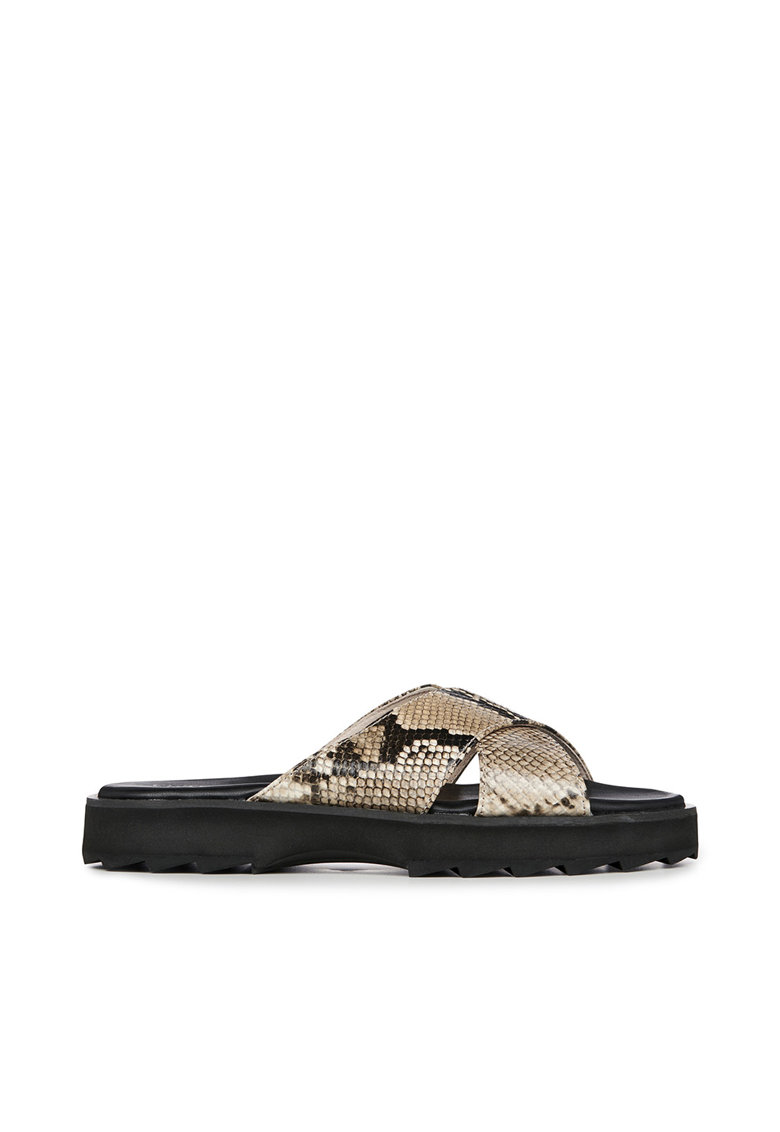 Papuci din piele cu aspect de piele de sarpe Manta Emu fashiondays.ro
