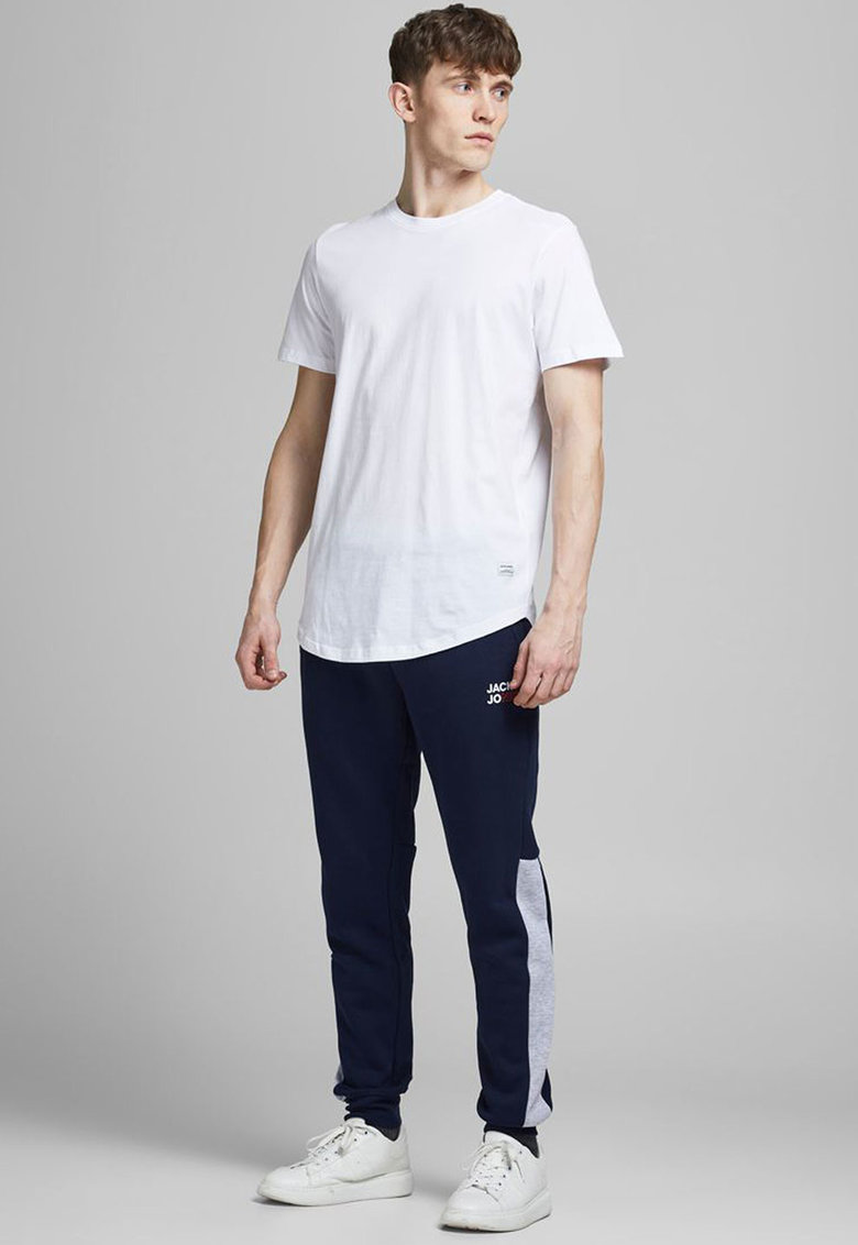 Pantaloni jogger slim fit cu model colorblock