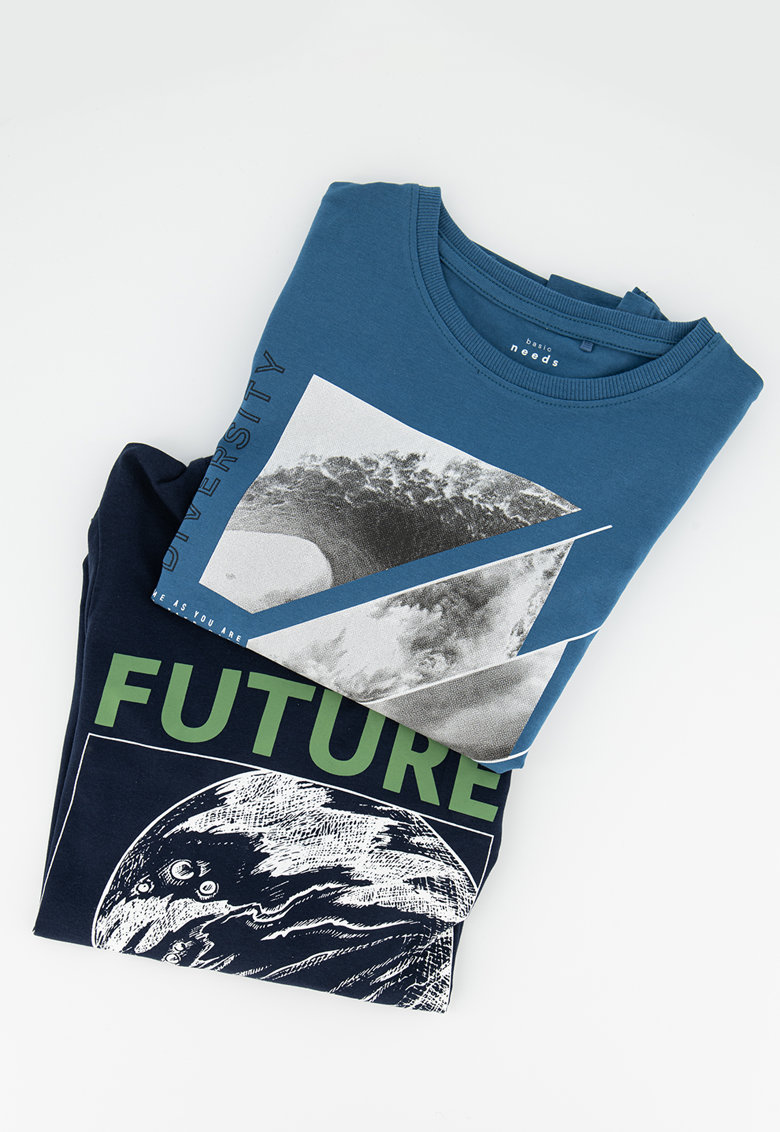 Set de bluza sport din amestec de bumbac organic cu model grafic - 2 piese imagine
