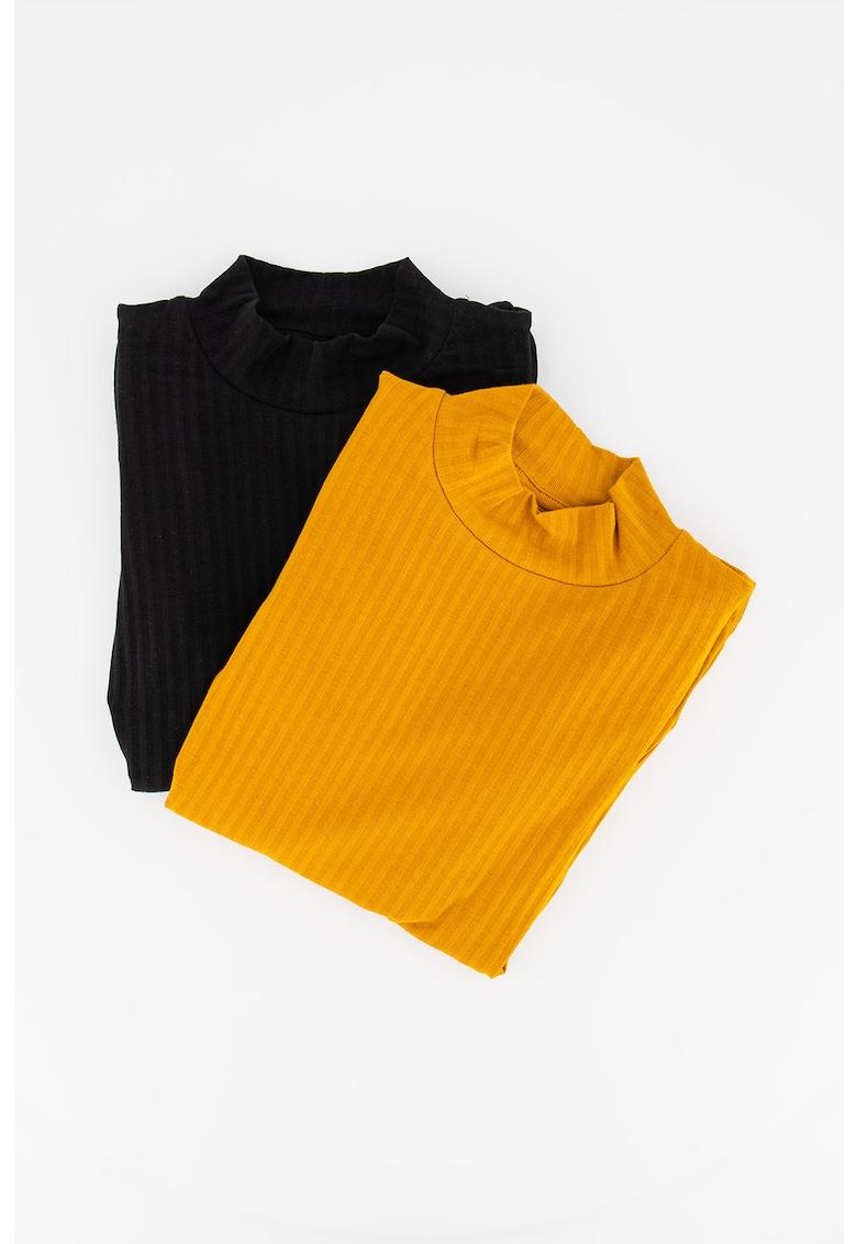Set de bluze striate din amestec de modal cu maneci bufante imagine
