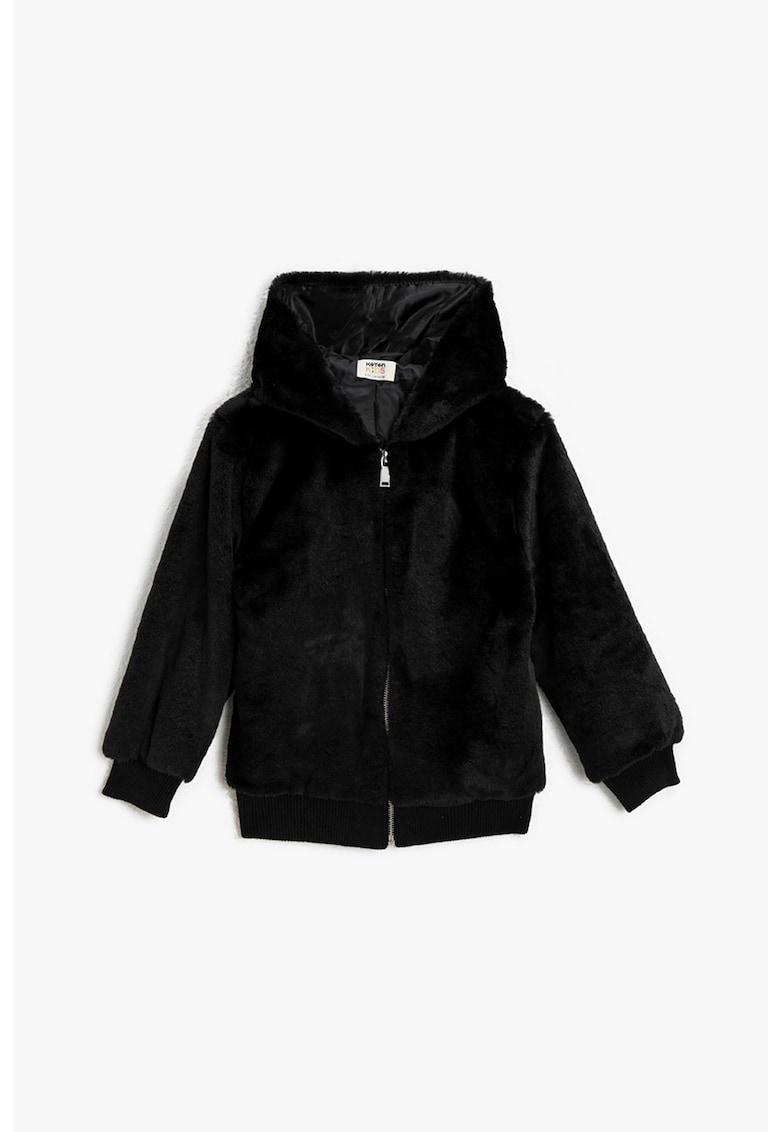 Jacheta din material teddy cu fermoar imagine promotie