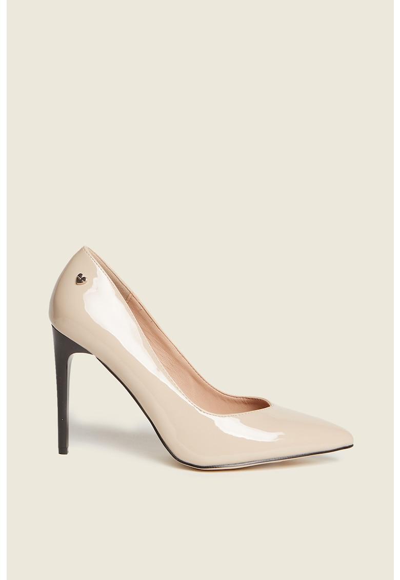 Pantofi de piele ecologica - cu toc inalt poza fashiondays
