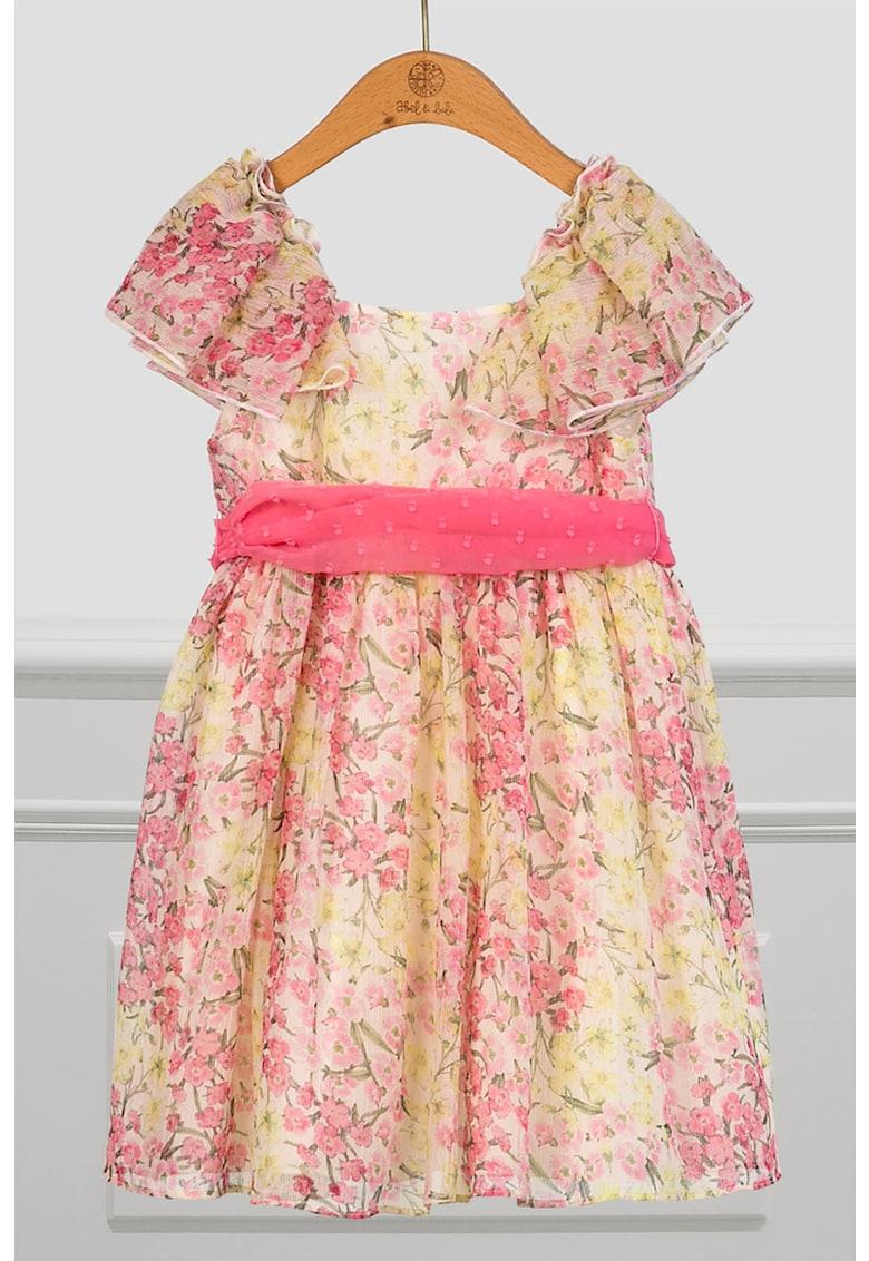 Rochie cu imprimeu floral si cordon in talie imagine promotie