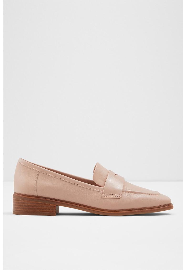 Pantfi loafer de piele cu toc patrat Taodia Aldo fashiondays.ro