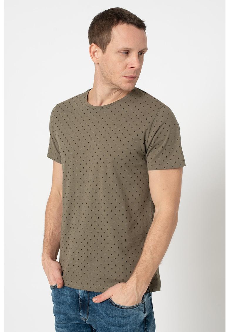 Tricou de bumbac organic cu imprimeu geometric Bărbați imagine