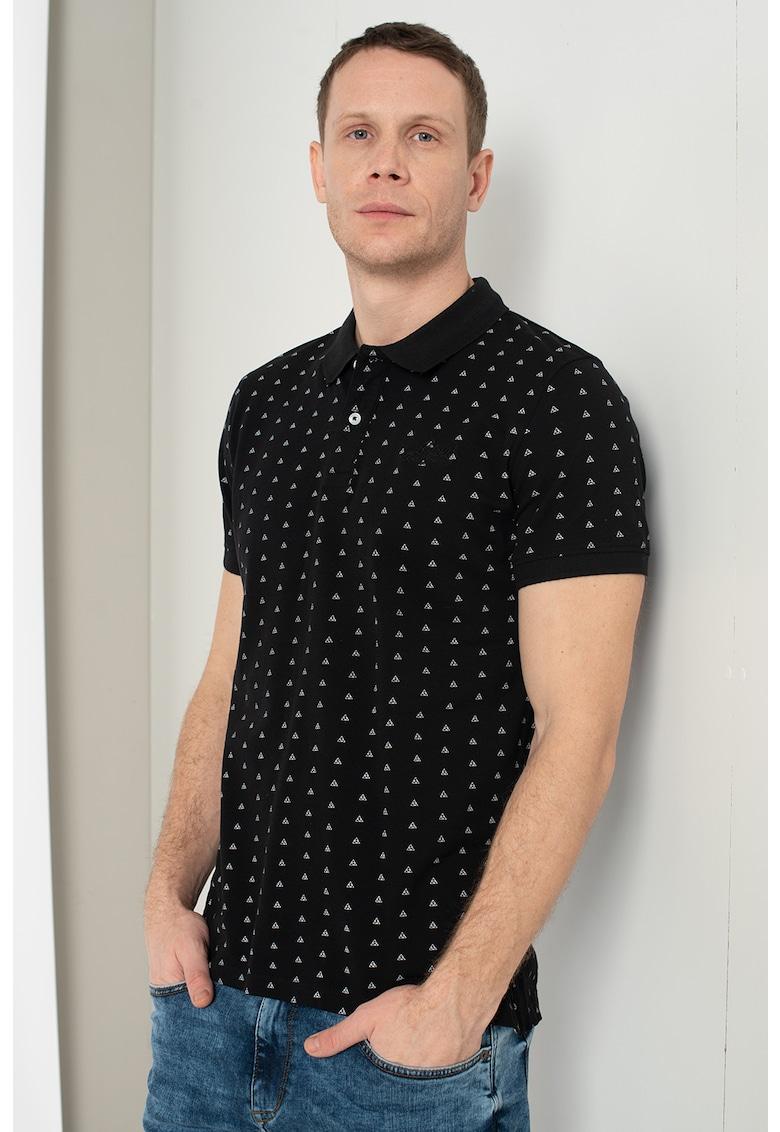 Tricou polo din bumbac pique cu imprimeu Bărbați imagine
