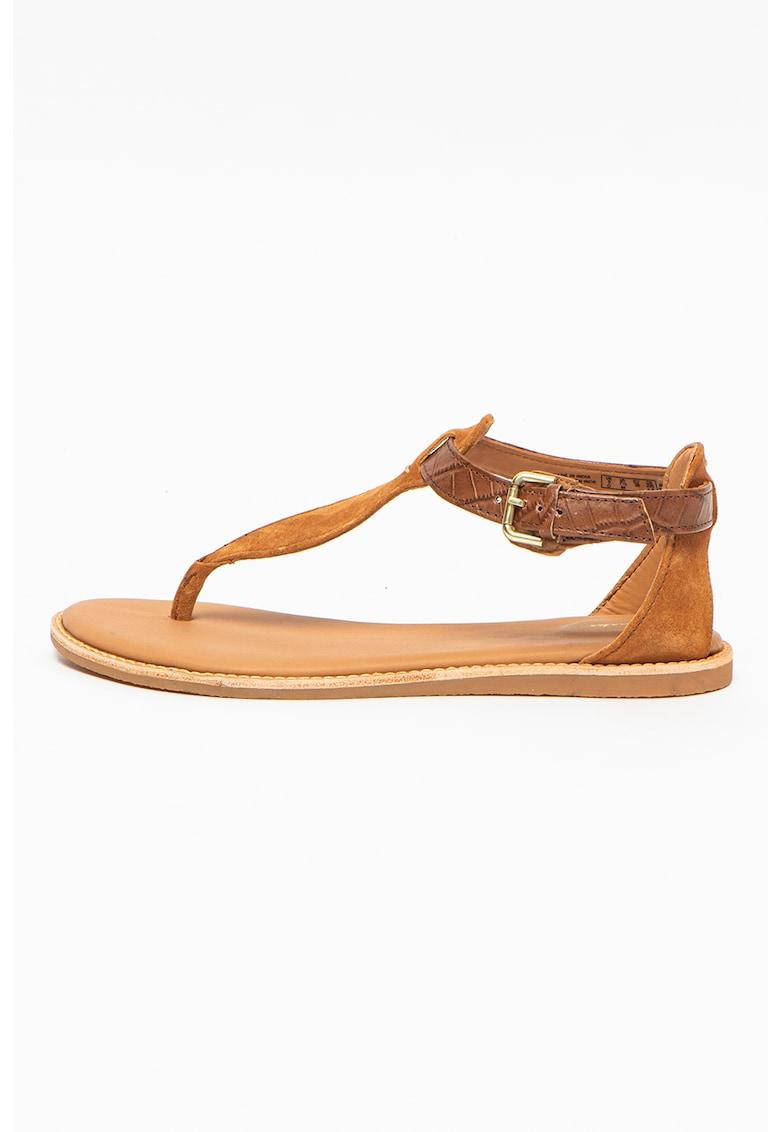 Sandale din piele cu bareta separatoare si calcai decupat Karsea Post