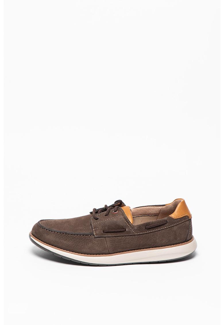 Pantofi boat de piele cu aplicatie cap-toe si sireturi Un Darcey imagine