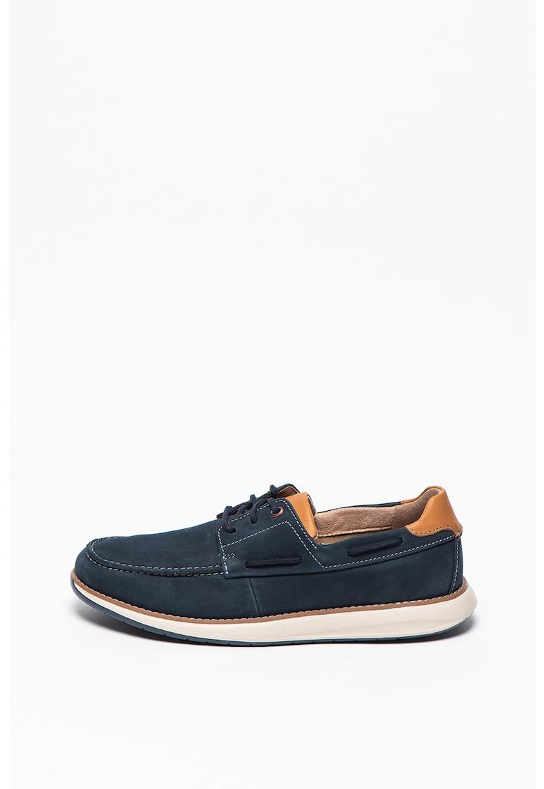 Pantofi boat de piele nabuc cu sireturi Un Pilot Lace fashiondays.ro