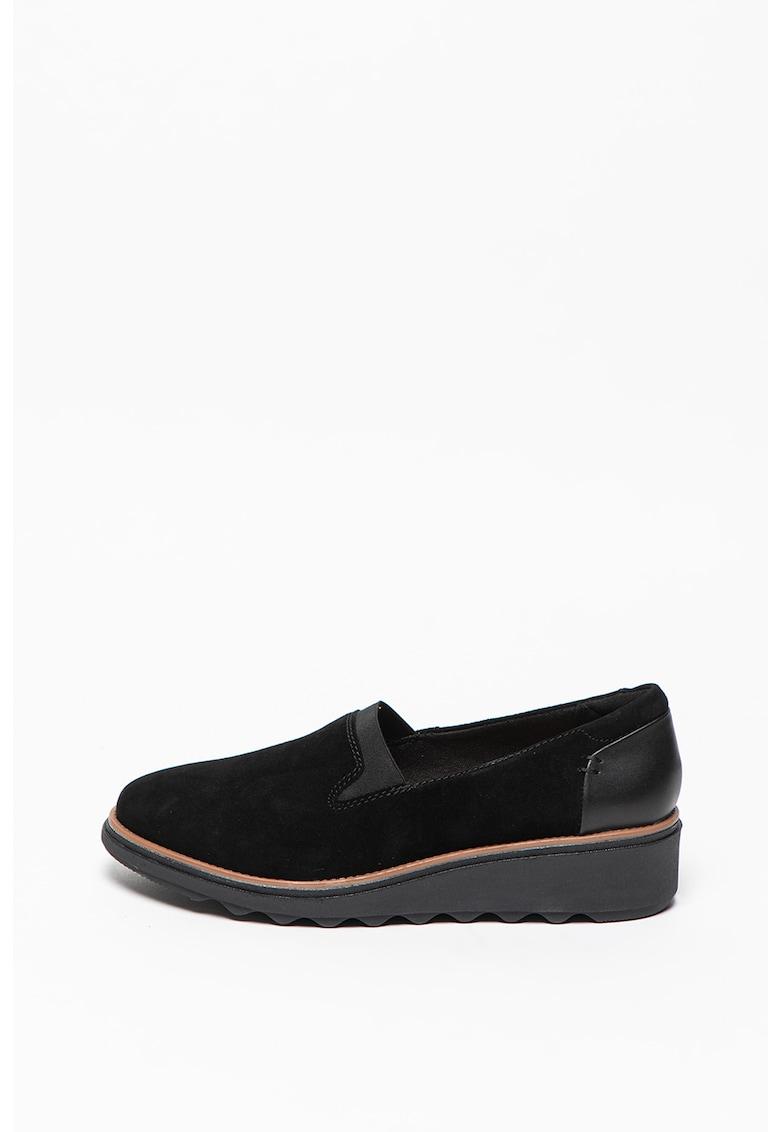 Pantofi loafer slip-on wedge de piele intoarsa Sharon Dolly poza fashiondays