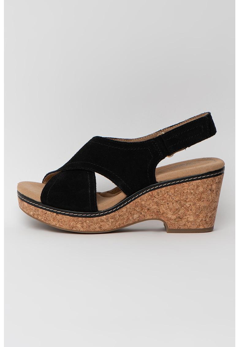 Sandale demi-wedge de piele intoarsa Giselle Cove